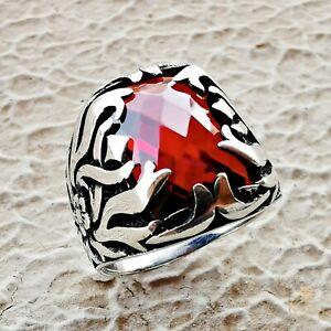 Men Ruby Statement Ring Red Stone Eternity Silver Band Claw Jewelry Gift For 925
