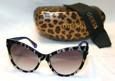 Authentic GUESS GU7430-5692B Women's Cat Eye Sunglasses Blue Arms IVORY & BLACK