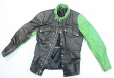 Vtg Original Tt Leathers International Black Green Motorcycle Jacket 52