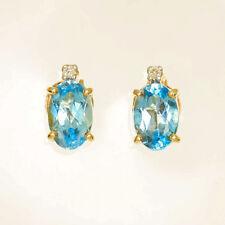 BLUE TOPAZ EARRINGS NATURAL BLUE TOPAZ REAL DIAMONDS GENUINE 9K GOLD STUDS NEW