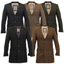 mens jackets Cavani wool mix long coat trench slim fit checked herringbone tweed