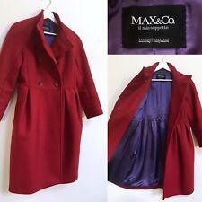 Max Mara Coat Red Virgin Wool Long Line Peplum Jacket Coat S UK 10 MAX & Co.