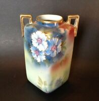 Nippon Noritake - Square Handled Vase - Red And Blue With Gold Moriage - Japan