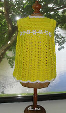 Handmade hand-knitted Easter yellow girls tank top sweater in size 6-18 months