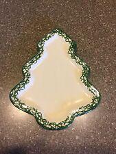 Henn Pottery Green / Ivory Roseville Spongeware Christmas Tree Platter
