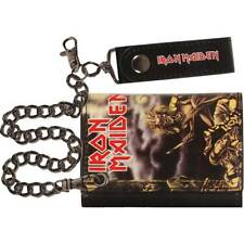 Iron Maiden Tri-Fold Wallet Black Licensed NWT sanctuary running free powerslave