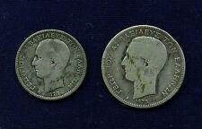 GREECE  1873-A  1 DRACHMA & 2 DRACHMAI, CIRCULATED SILVER COINS!