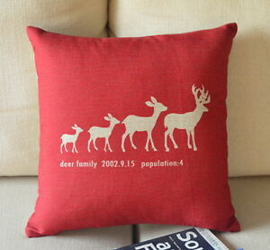 Cotton Linen Cushion Cover Home Decor Deer Family