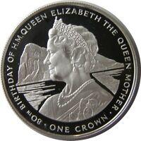 elf Gibraltar 1 Crown 1980  Queen Mum 80th  Silver Proof