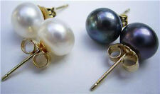 7-8mm Natural White And Black Pearl Earrings Silver Stud AAA+