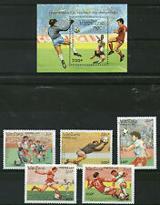 LAOS 1990 ITALY FOOTBALL WORLD CUP SET ALL 5 STAMPS & MINIATURE SHEET MNH (a)