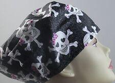 WOMEN'S SURGICAL_SCRUB HAT_CAP_Skulls_pink bows_crossbones_glitter_smiling