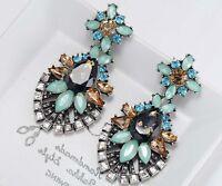 1 Pair Elegant Green Crystal Rhinestone  Ear Drop Dangle Stud long Earrings 159