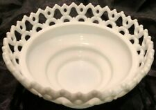 Vintage Round Laced Milk Glass Bowl - EXCELLENT!