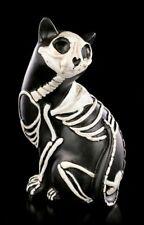 Schwarze Katze Skelett Katzen Figur - Dreht sich um - Gothic Kätzchen Deko