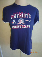 Womens New England Patriots Shirt Top L Blue White 50 Seasons Anniversary Reebok