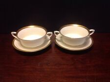 "1963 Royal Worcester ""Coventry"" Gold Encrusted Cream Soup Bowl & Saucer Lot Of 2"