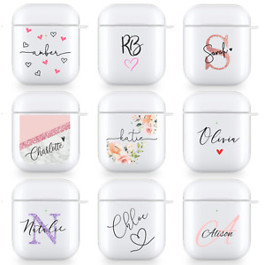 PERSONALISED AIRPODS PRO CASE CUSTOM NAME CLEAR SILICONE COVER FOR APPLE CUTE