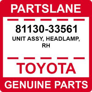 81130-33561 Toyota OEM Genuine UNIT ASSY, HEADLAMP, RH