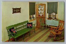 Pennsylvania PA Amish Home Living Room Interior Furniture Postcard 1950s