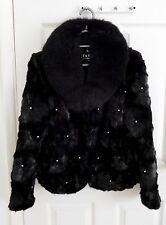 Pelliccia di Visone Giacca con colletto di pelliccia di volpe-Nero, Taglia UK 12