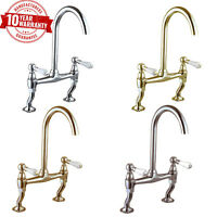 Traditional Classic Chrome Kitchen Sink Bridge Mixer Tap White Lever Handles *14