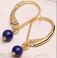 Lazuli Gold Leverbacks Dangle Earrings Vintage Handmade Natural 10mm Blue Lapis