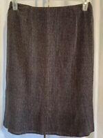 TALBOTS Petites Women's Size 8 Black & Tan Arrow Design 100% Silk Pencil Skirt