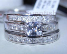 Wedding Engagement Ring Set Sz 9 .925 Sterling Silver 3 Ring Simulated Princess