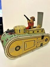 VINTAGE MARX WIND UP WWI TIN LITHO TANKER WITH DOUGH BOY