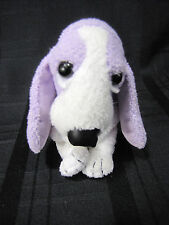 APPLAUSE HUSH PUPPIES STUFFED PLUSH BEAN TOY DOG PURPLE LAVENDER WHITE GREEN