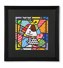 "ROMERO BRITTO LARGE ""ROYALTY DOG""  FRAMED PRINT DISCONTINUED  ** NEW**"