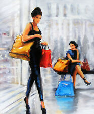 Shoppers Oil Painting: Shop Till You Drop! The Perfect Gift Idea!