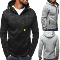 New Mens Warm Long Sleeve Hooded Hoodie Zipper Thick Sweatshirt Casual Cardigan