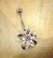 15mm Silver Hawaiian Rhodium Plumeria Purple Amethyst CZ Belly Ring #4M