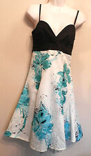 JANE NORMAN (UK6 / EU34) WHITE/GREEN/BLACK DRESS WITH BLACK NET HEMLINE