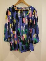 NY COLLECTION WOMEN'S SCOOP NECK 3/4 SLEEVE VIBRANT COLORS BLOUSE TOP SIZE XL