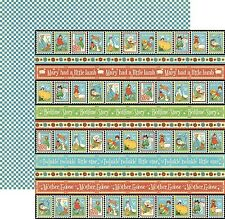 5p Graphic 45 Scrapbook Paper Mother Goose Collection Playful Postage border edg