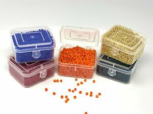 Glass 2-3mm Seed Beads 200 grams 16,000 Beads, 5 Flip Top Plastic Storage Boxes