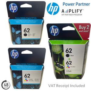 Genuine HP 62 Black Or Colour Ink Cartridges C2P04AE, C2P06AE, N9J71AE