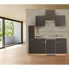Küche Singleküche Küchenzeile Küchenblock Miniküche 180 cm Buche grau respekta