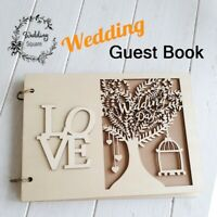 20/30 Pages Wooden Tree Wedding Guest Book Decroation Photo Custom Guestbook