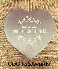 Mothers Day Personalised Laser Engraved Slate Heart Coaster Birthday Gift Mum