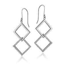 925 Sterling Silver Cubic Zirconia Geometric Dangle Earrings
