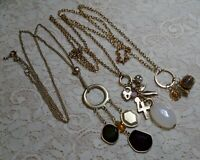 VINTAGE TO NOW ASSORTED TASSEL DANGLE PENDANT LONG GOLD TONE CHAIN NECKLACE LOT