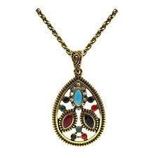 Vintage Style Colourful Antique Gold Teardrop Pendant Corn Chain Necklace N487