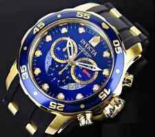 Invicta Gold Crystal Blue Masculino Reloj Watch Rubber Bracelet Pulsera Man Arm