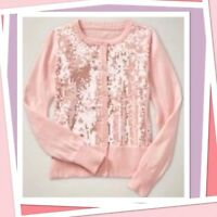 """NWT XS (4-5) Baby GAP Kids """"I WANT CANDY""""  peach SEQUIN Cardigan SWEATER Shimmer"""