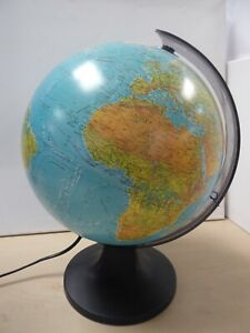 "Light up World Globe Height 13"" Metal C8"