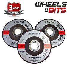 3pc 115 x 3 x 22.23mm Stone Cutting Angle Grinder Discs Garage Depressed Centre